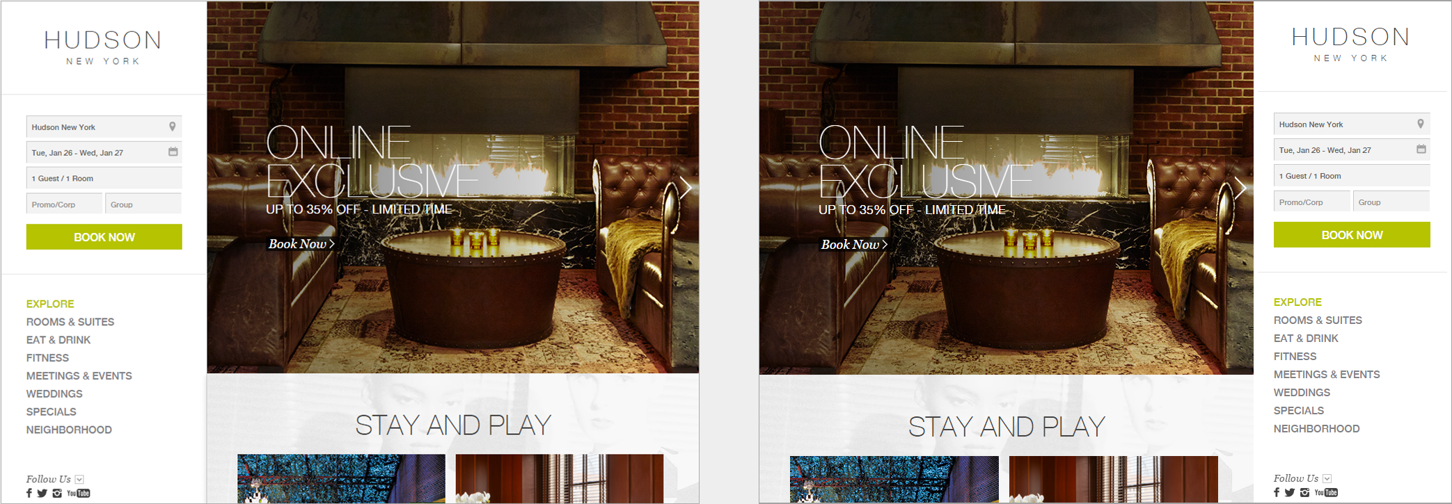 The homepage of the Hudson hotel (left) and a manipulated version of the homepage with the logo on the right side