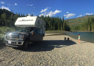 BC Canada rv rental vacation camper by lake photo